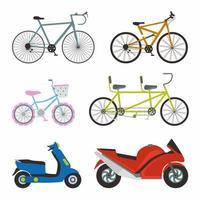 Conjunto simple de diseño vectorial de iconos planos de transporte. contiene como bicicleta deportiva, bicicleta de mujer, motocicleta matic y motocicleta deportiva. ilustración de dibujos animados de elementos de vector de transporte