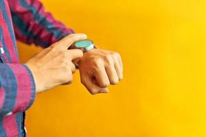Man wears a smart watch in everyday lifestyle