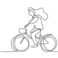 One line drawing of happy young girl on bicycle. Energetic beautiful woman riding her cycle in the morning to go to school. Daily activity. Back to school concept isolated on white background vector