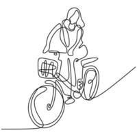 One continuous line drawing of a girl riding bicycle. A cute woman enjoy riding her cycle in the morning to exercise. Healthy lifestyle theme isolated on white background. Vector minimalist style