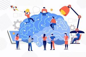 Teamwork develop robot vector