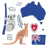 Big flat set of Australian famous icons koala, kangaroo, flag and map isolated on white background. Traditional cuisine, architecture, cultural symbols. A collection of colored illustrations. vector