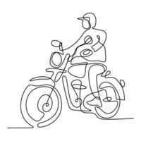 una línea continua de un hombre en una motocicleta vieja. varón joven con casco y monta un motor de helicóptero en la calle. concepto de moto retro. estilo minimalista creativo vintage. ilustración vectorial vector