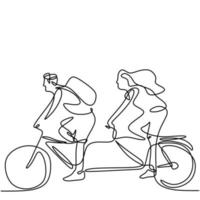 Continuous line drawing of young man and woman riding bicycles hand-drawn line art minimalism style on white background. Energetic male and female rides a bike. Healthy lifestyle concept vector