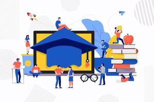 Teamwork study e-learning vector
