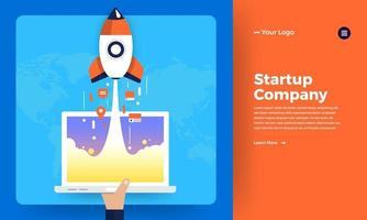 Mock-up design website flat design concept startup rocket rise from computer.  Vector illustration.