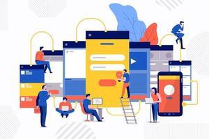 Teamwork development website vector