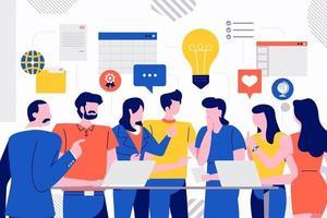 reunión de trabajo en equipo vector