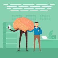 Flat design concept businessman training brain in labs. Vector illustrate.