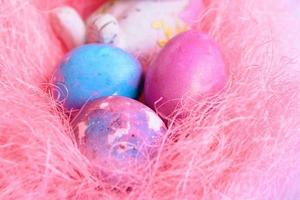 Easter eggs and rabbit photo