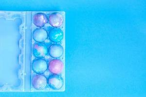 Easter eggs with space intergalactic pattern photo