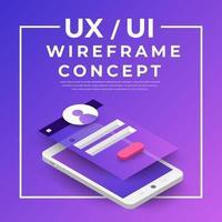 UX UI Flowchart. Mock-ups  mobile application concept isometric flat design. Vector illustration.