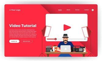 video tutorial de concepto de diseño plano de sitio web de diseño de maqueta. ilustración vectorial. vector