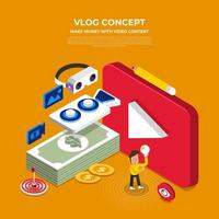 Flat design vlog concept. Create video content and make money. Vector illustrate