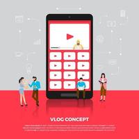 Flat design concept vlog. Team develop channel video online. Vector illustrate.