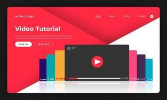 video tutorial de concepto de diseño plano de sitio web de diseño de maqueta. ilustración vectorial.