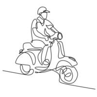 Continuous line art or one line drawing of young man riding vespa motorcycle. A male bikes classical scooter matic isolated on white background. Vintage motorbike concept. Vector illustration