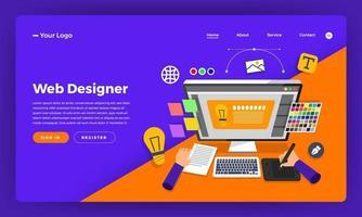 diseño de maquetas concepto de diseño plano de sitio web diseñador de páginas web. ilustración vectorial. vector