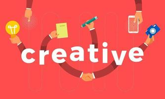 Flat design concept hand create symbol icon and words creative. Vector illustrations.