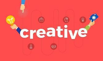 concepto de diseño plano mano crear icono de símbolo y palabras creativas. ilustraciones vectoriales. vector