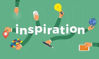 concepto de diseño plano mano crear icono de símbolo y palabras inspiración. ilustraciones vectoriales. vector