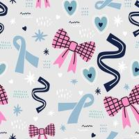 Breast Awareness Month. Cute colored ribbon cancer with childish bow, flowers and love isolated on grey background. Vector design for fashion, fabric, wallpaper, card and all prints.