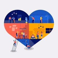 espacio de trabajo crear icono amor vector