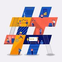 trabajando crear hashtag vector