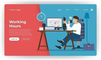 concepto de diseño plano de sitio web de diseño de maqueta trabajador de horas de trabajo en lugar de oficina. ilustración vectorial. vector