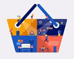 Working space online shopping vector