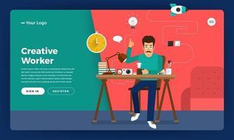 trabajador creativo del concepto de diseño plano. ilustrar el vector. vector