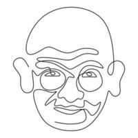 Mahatma Gandhi the Indian figure continuous one line drawing. Gandhi is a man who leader of the Indian independence movement from British Rule, who employed nonviolent resistance. Vector illustration