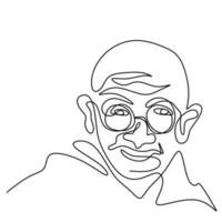Continuous one line drawing of Mahatma Gandhi. An Indian lawyer, anti-colonial nationalist, and political ethicist. The leader of the Indian independence movement with famous quotes and utterance. vector