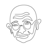 One continuous line drawing of Mahatma Gandhi. An Indian figure who was the leader of the Indian independence isolated on white background. India Republic Day, January 26. Vector illustration