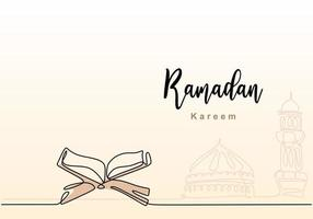 One single continuous line drawing of Ramadan Kareem with open Quran, mosque dome and mosque tower. Islamic holiday, Eid Mubarak greeting card concept one line draw design vector illustration