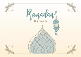 Ramadan Kareem one continuous line with lantern, mosque dome and mosque tower ornament. Eid Al Fitr Mubarak and Ramadan Kareem greeting card concept hand drawn design minimalist style vector