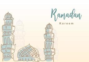 Ramadan Kareem one continuous line with islamic mosque, mosque dome and mosque tower ornament. Eid Al Fitr Mubarak and Ramadan Kareem greeting card concept hand drawn design minimalist style vector