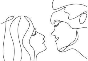 Continuous one line drawing of man and woman heads on white background. Young romantic couple in face to face pose. Happy Valentine Day. Minimalistic style loving graphic design. Vector illustration