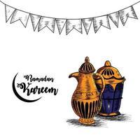 Ramadan hand draw invitation greeting card with creative mug and lantern vector