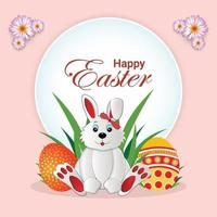 Easter day celebration background with colorful party flag and colorful egg and bunnies vector