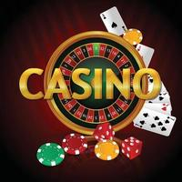 Luxury vip casino gambling game with roulette, casino chips and realistic playing cards vector