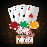 Casino playing cards, slot machine, and colorful chips and background vector