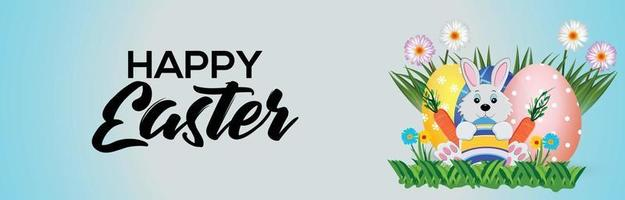 Happy easter day background with colorful painted easter egg and easter bunny vector