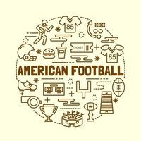 american football minimal thin line icons set vector