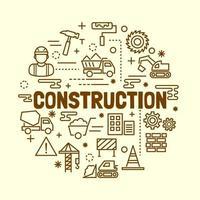 construction minimal thin line icons set vector