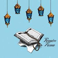 Hand draw element of ramadan mubarak with islamic holy book quran vector