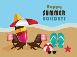 Summer creative illustration with sea concept vector