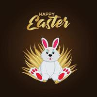 Happy easter day celebration background with creative easter bunny and golden basket vector