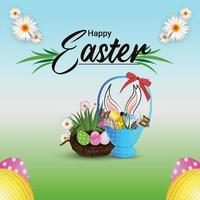 Happy easter day celebration background with creative easter basket and easter bunny vector