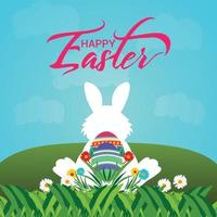 Happy easter day celebration background with creative colorful egg and bunny vector